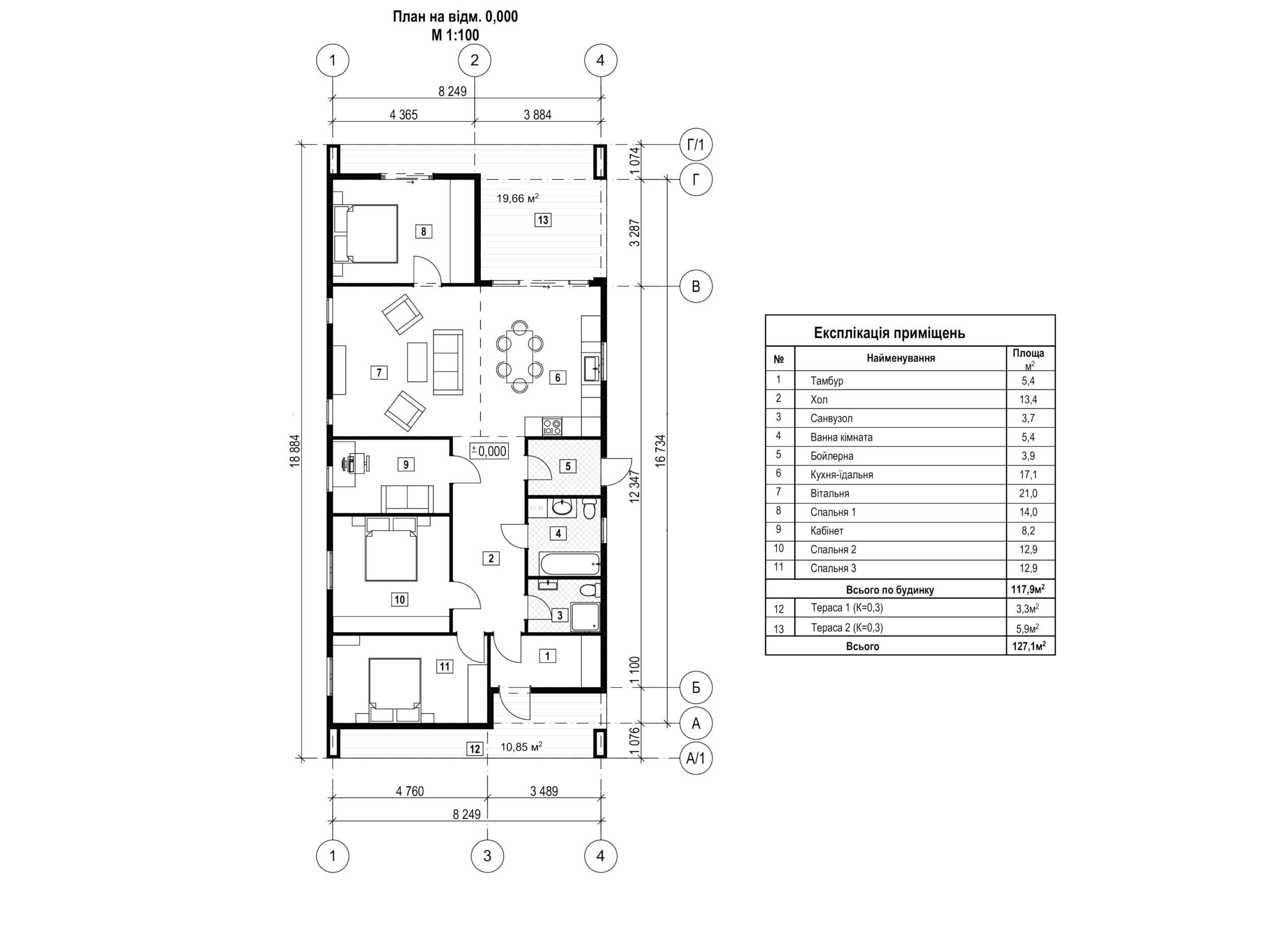 Будівництво житлового 1-поверхового будинку с. Мощун Київська обл., 130 м.кв